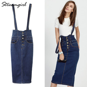 Gonna lunga Streamgirl in denim con cinturini Gonne jeans con bottoni da donna Plus Size Gonna longuette a vita alta Gonne jeans Gonna MX190801
