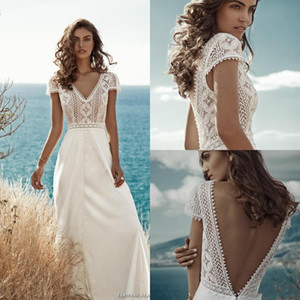 2021 New Wedding Dresses V Neck Lace Backless Satin Sweep Train Bridal Gowns Beach Plus Size Robe De Mariée