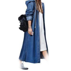 Women Fashion Loose Long Sleeve Hooded Denim Jacket Coat Ladies Casual Buttons Long Jean Coat Cardigan Outwear Tops