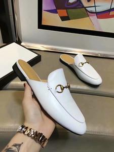 Новый дизайнер 2019 Господа ленивый Мюллер обувь плоский каблук крышка toe натуральная кожа мужские тапочки мокасины