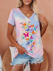 Womens T-Shirts Summer V Neck Loose Casual Women T Shirts Tie Dye Fashion Tops Candy Colors Butterfly