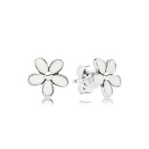 Esmalte blanco Daisy Stud Pendiente Conjunto de caja original Joyas para Pandora 925 flores de plata esterlina Pendientes para mujeres niñas