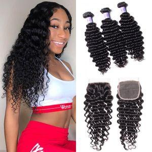TKWIG saç serisi hint huamn saç derin siyah kadınlar için kapatma kısa insan saçı ile 3 demetleri dalga