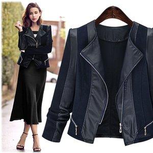 Womens Mixed PU Leder Revers Jacke Slim Fit Short Outwear Mantel gespleißt schwarz Plus Size 5XL