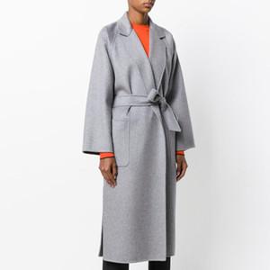 Cappotto di lana lungo autunno inverno Cappotto di lana grigio moda donna Cashmere Jacket Womens Belt