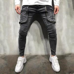 Designer-Jeans große Taschen Panelled Reißverschluss Herren Designer Jeans-beiläufige Männer Kleidung Loch Panelled Herren