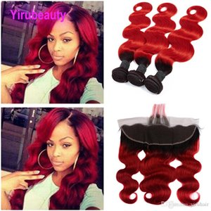 Indian Raw Human Hair 3 Bundles With 13X4 Lace Frontal Body Wave 1B Red Ombre Hair Wefts With Frontal 3 Pieces