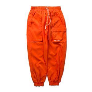 FAVOCENT 2020 Side Automne Hommes Poches Sarouel Cargo Hip Hop Casual Male Joggers Mode Streetwear Noir Pantalon orange