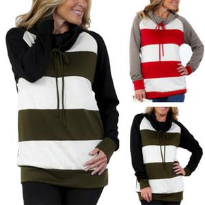 Hirigin 2017 Taschen-T-Shirt Hoody Hoodiepullover Brücker-Mantel-Anzug Striped Herbst warme Kleidung Outwear Frauen
