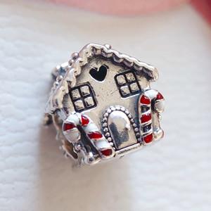Пряничный домик Шарм 925 стерлингового серебра Дом, милый сердца бусины Fit Пандора стиль подвески браслеты ожерелье DIY Рождественский подарок 798471C01