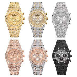 Luxuxmann Diamant-Uhr Iced Out Männer wasserdicht Chronograph-Sport-Uhr Military Male Uhr Geschäfts-Quarz-Armbanduhr