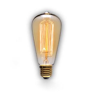 110-12 или 220-24 ST64 Урожая Белок 40W E27 Лампы накаливания Эдисона ЛАМПОЧКА фейерверк углерод накаливание античной лампа накаливание фара