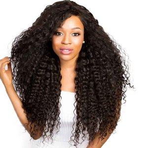 Heat Resistant 1b# 2# Kinky Curly Lace Front Wigs Synthetic Curly Lace Front Wigs with Baby Hair Natural Hairline Long Wigs For Women