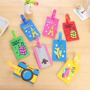 18 styles Cute cartoon PVC luggage tag suitcase luggage tag silica gel Label sleeve. Home accessories A148