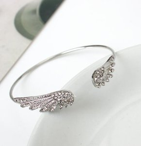 DHL Fashion crystal Angel Wings Jewelry 925 Silver Alloy Diamond Bracelet Open Personality Female Bracelet bangle for Girlfriend Gift Nd