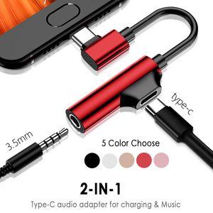 2 En 1 Tipo C a 3,5 mm para auriculares Jack AUX USB 3.5 C cable adaptador convertidor para Huawei Xiaomi Samsung cable de carga Dropship