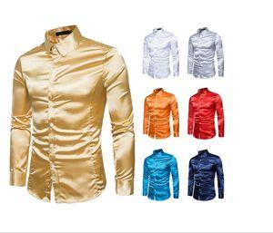 Saten Erkekler Katı Tuxedo Gömlek İş Chemise Homme Casual Slim Fit Parlak Altın Gelinlik Gömlek Moda Gömlek Smooth