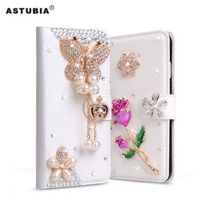 Per Leagoo M8 Custodia in pelle con strass glitter per Leagoo M5 Plus Flip Diamond Custodia in rilievo per fiori con card Slot in cristallo