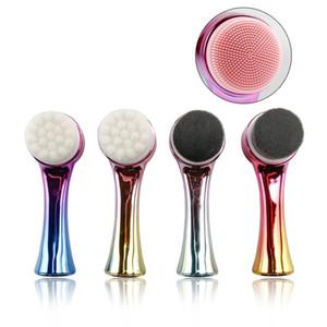 Doble cara silicón de la cara Scrub Clean Limpiador Facial Skin Care cepillo de lavado cepillo masajeador limpiador de poros maquillaje lavado de cara Cepillos HHAa198