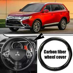 Car-styling black carbon fiber PVC leather car steering wheel cover for Mitsubishi Outlander