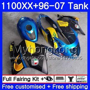 + Tanque para HONDA Blackbird CBR1100 XX CBR1100XX 96 97 98 99 00 01 271HM.0 CBR 1100XX 1996 1997 1998 1999 2000 2001 Carenados de tiburón azul