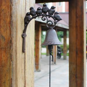 Ferro Fundido Bem-vindo Dinner Bell 6 pássaros no ramo Wall Mounted Brown Jardim Suspenso Porch Pátio Portão Sino decorativo na porta do vintage Retro