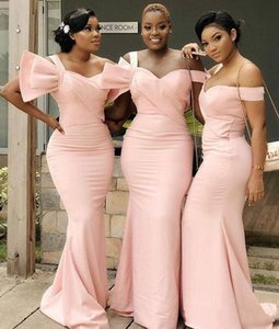 South Africa Style Mermaid Bridesmaid Dresses Wedding Guest Evening Prom Gowns Light Pink Off the Shoulder Maid of Honor Wear
