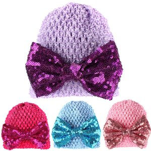 Новорожденные Cute Baby Hat Дети Хлопок Caps Sequin Bow вязаную шапочку для девочек для мальчиков Шляпы фотографии реквизита Шапочки Аксессуары
