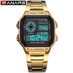 PANARS Часы Мужские Спортивные цифровые часы хронограф водонепроницаемые часы из нержавеющей Бизнес Наручные часы Мужской Relogio Мужчина для