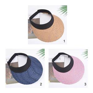Women's Sun Hats Straw Visor Cap Summer Hat Empty Top Beach Hat Outdoor Sports Cap Straw Weaving Outdoor Activities Dropshipping