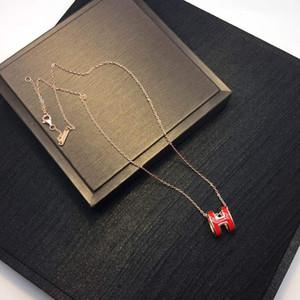 Collar colgante de joyería de acero Carta de lujo del diseñador mujeres collar inoxidable H Nueva esmalte de la manera de los collares pendientes