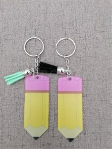 Pencil shaped Teachers Day Keychain Fashion Acrylic Pencil Keychain Personalize With Small Tassel Keyring Festival Party Gift DA278