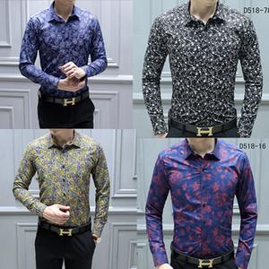 YENI Moda Tasarımcısı Slim Fit Gömlek Erkekler Siyah Altın Çiçek Baskı Erkek Gömlekler Uzun Kollu Iş Rahat Gömlek Erkekler Giysileri