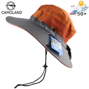 Protección impermeable UPF 50+ Sun sombrero del cubo de Verano Hombres Mujeres Pesca Boonie sombrero de Sun UV a largo borde ancho grande Bob Senderismo LY191228 al aire libre