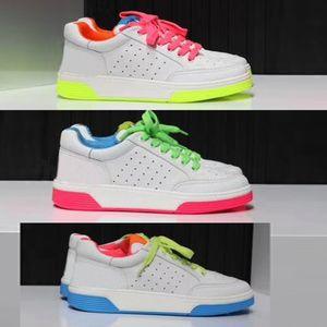 2020 neue Frauen Designer-Schuhe Damen flache Kalbsleder Sneaker Weiß Fuchsia Patchwork buntes echtes Leder Schnürschuh Laufschuhe