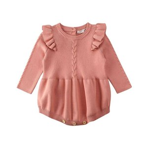 Infant Newborn Baby Girls Knitted Playsuit Long Sleeve Solid Ruffled Jumpsuit Outfit Set 0-3T