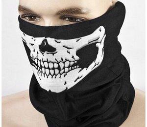 Nouveau Crâne Squelette Voile d'extérieur Moto Vélo multi Couvre-chef Chapeau Foulard moitié visage Masque Cap cou Fantôme Halloween écharpe masque1