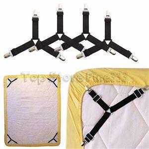 4pcs 침대 시트 홀더 스트랩 히트 그리퍼 지퍼 조정 가능한 탄성 시트 클립 시트 보관 장소 침대 시트 매트리스 홀더 미끄럼 방지