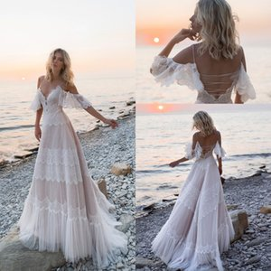 2020 Nuovo Boho Abiti da sposa fuori dalla spalla pizzo Appliques Abiti da sposa sexy Backless Beach A Line abito da sposa Robe de mariée
