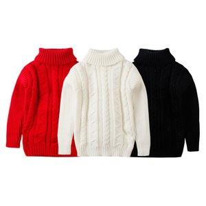 New Style Solid Color Linen Flower Color High Collar Childrenswear Boys' Sweater Children Autumn And Winter Girls Base Sweater W