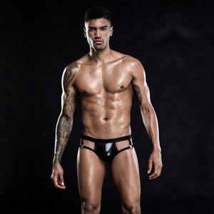 pTSDZ Men's patent leather low-waist breathable hip thimble pants Men's sexy underwear patent leather low-waist sexy underwear breathable hi