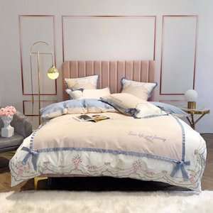 Cute princess style comfortable and luxurious 60 long-staple cotton embroidery bow cute bed four-piece bed comfort
