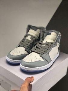 DIOR NIKE Air Jordan1 shoes 2020 icially показал 35-я годовщина D х J 1 I Высокая OG сотрудничество hococal Серый Белый Французский лейбл моды стиль Ким Джонс розовый