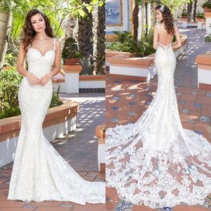 2020 vestido de casamento de Kitty Chen Mermaid Wedding Dresses Spaghetti Neck completa Lace Applique Backless vestidos de noiva Tribunal Trem baratos