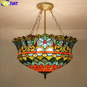 FUMAT تيفاني قلادة الأنوار زهرة LED الزجاج المعشق قلادة مصباح معلق الإنارة اللون زجاج غرفة المعيشة هانغ مصباح