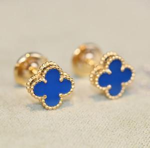 Luxuoso Brinco de Qualidade Mini Flor stud com blue nature stone women charm stamp luxuoso frete de qualidade livre PS3408