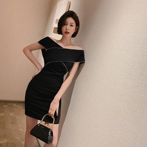 Dress skirt black skirt 2020 summer dress new women's wear slim diamond temperament dress 3908 at ordinary times