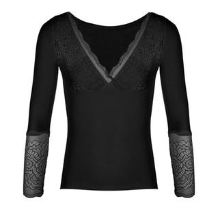 Sexy V-Ansatz dünner Thermo-Unterwäsche-Top für Frauen Samt starke warme Blusen, Mode, Körper Feminino Grundfrauenkleidung