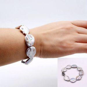 Doğal inci bileklik. Gümüş grisi barok madeni para biçimli İnci. Barok bilezik. Trend Mücevher
