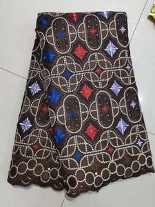 Мягкий материал тюль сетки ткани кружева вышивка 3d цветок африканских тканей кружева с бисером камнями для свадебных платьев bf0052